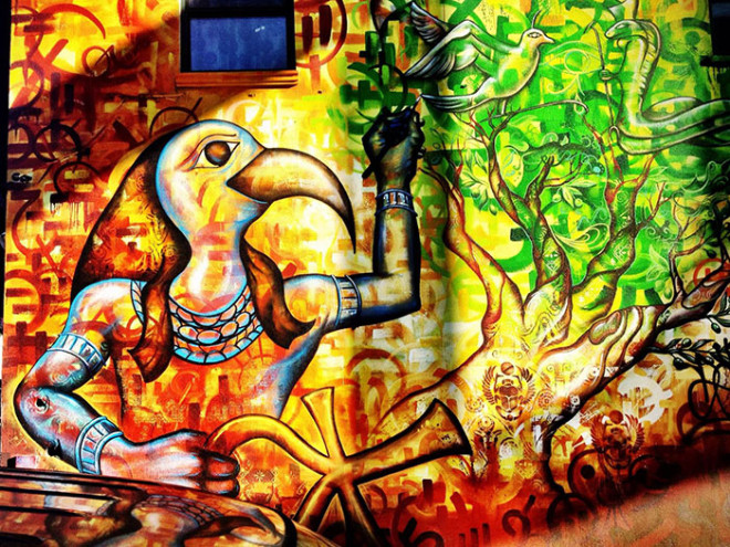 Eagle and strength, mural, Brooklyn