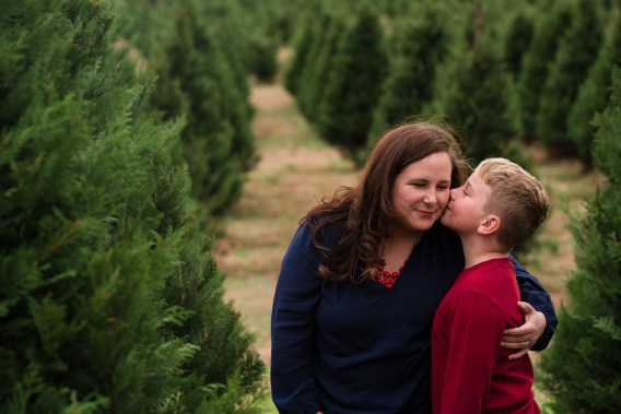 mother son christmas tree farm