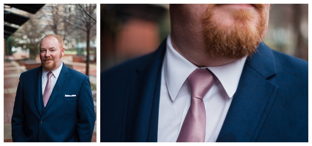 pink and navy groom