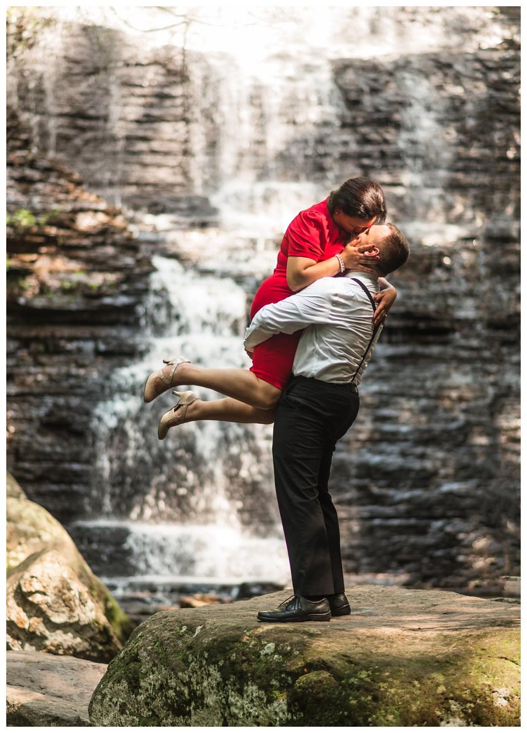 adventure waterfall engagement