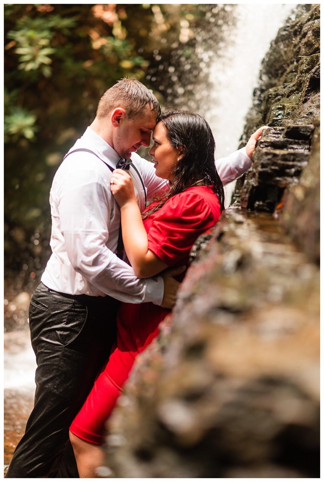 romantic waterfall engagement photos