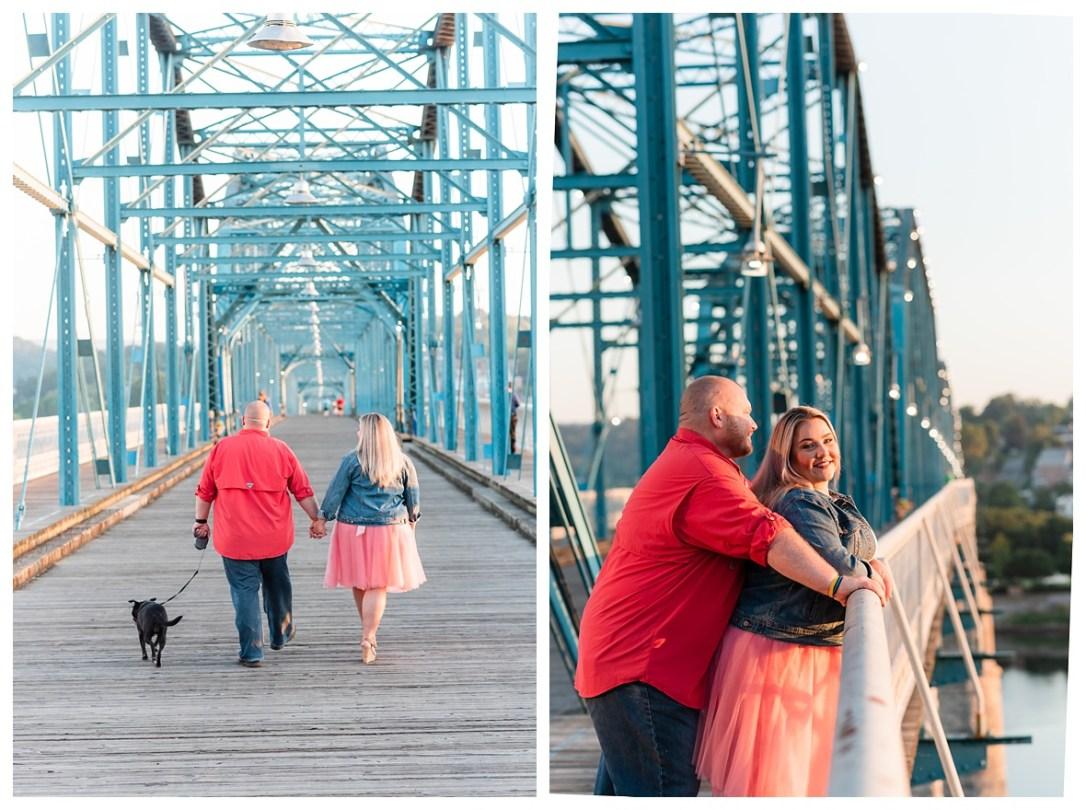 couple walks dog on walnut street bridge