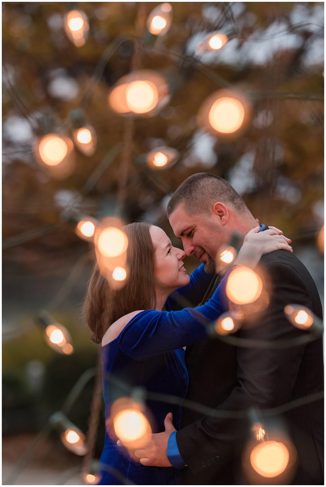 Christmas light engagement photos