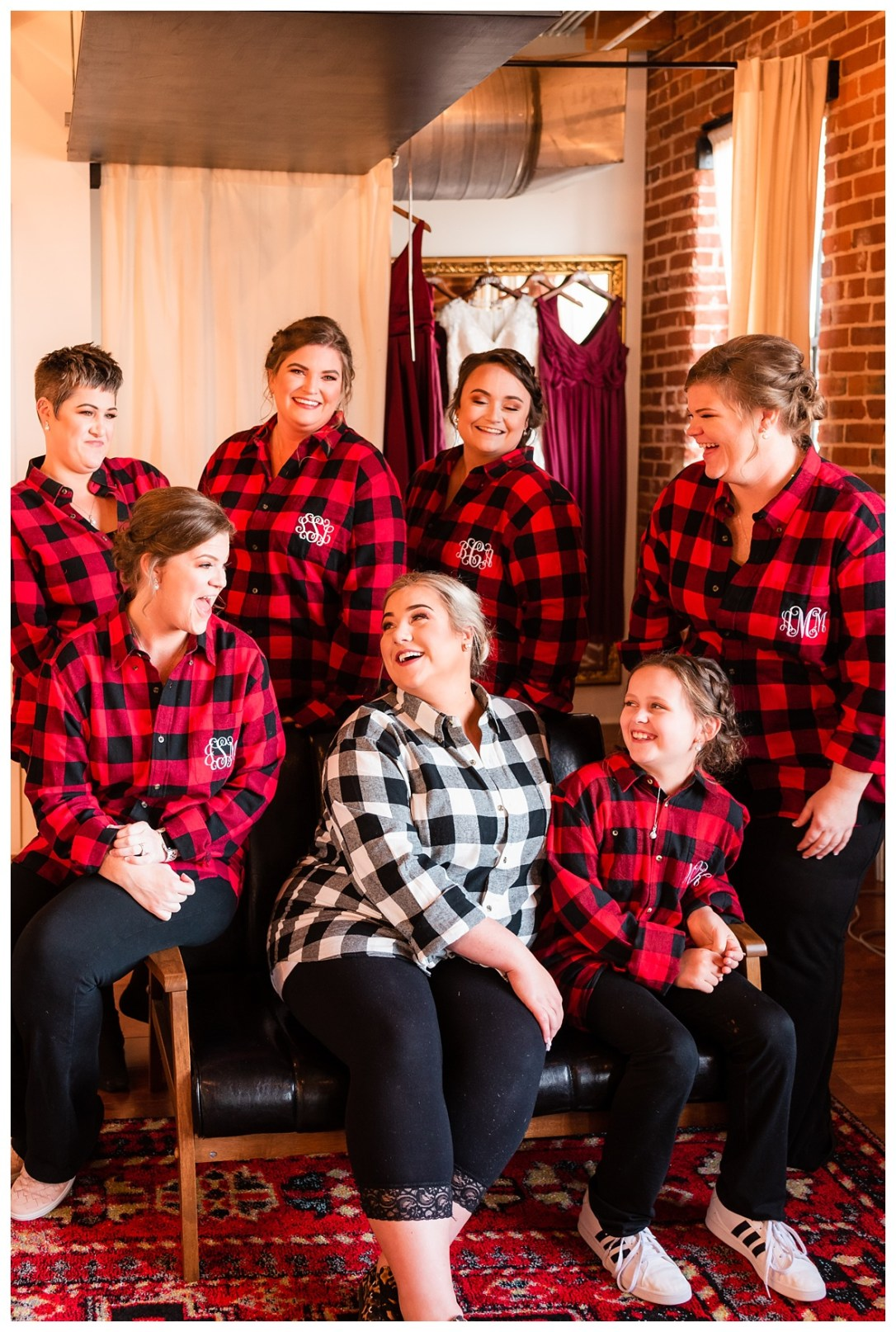 monogram flannel shirts getting ready with bride