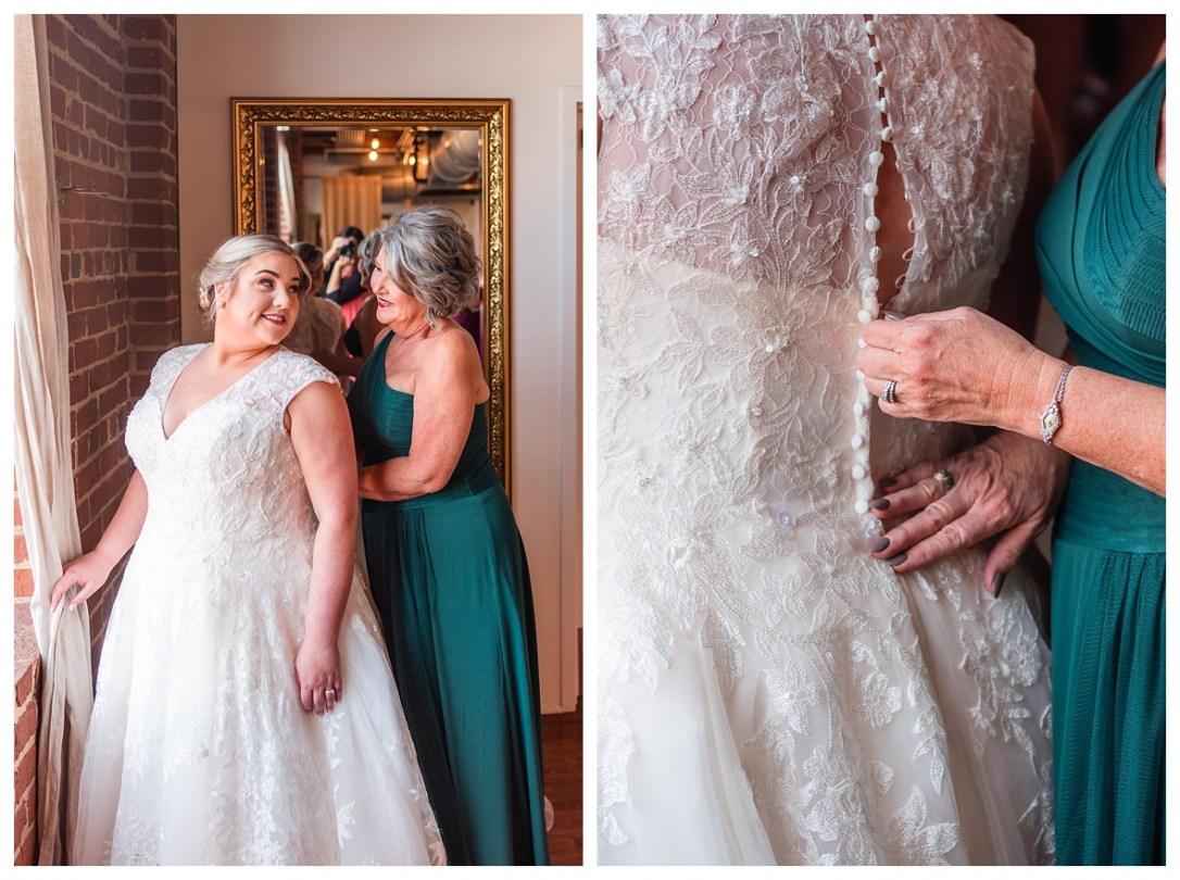 Mom helps bride put her dress on