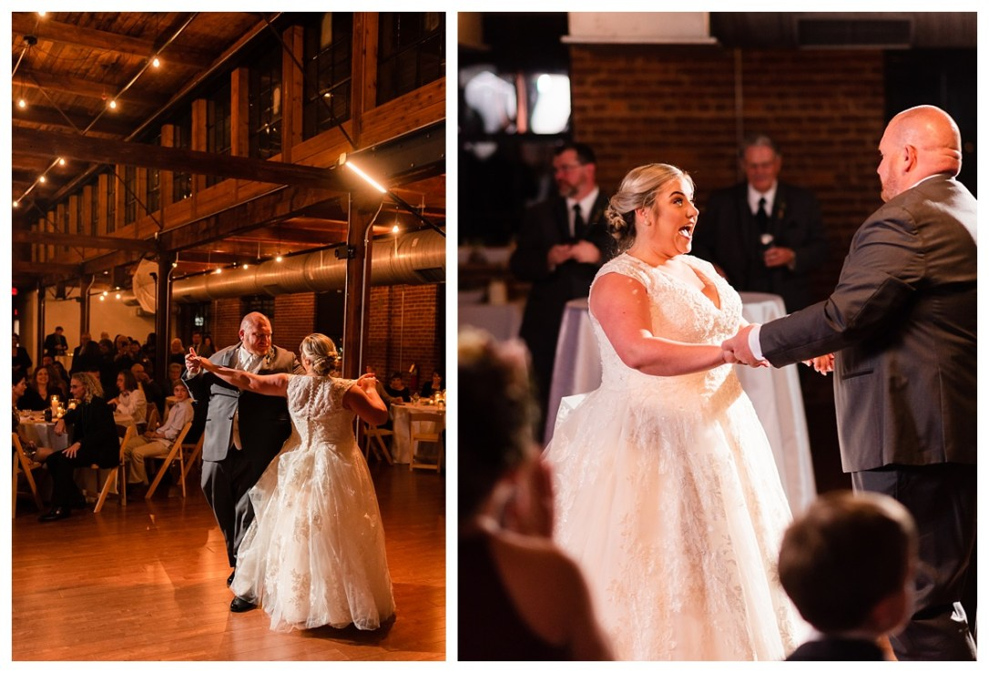 goom leads bride during first dance