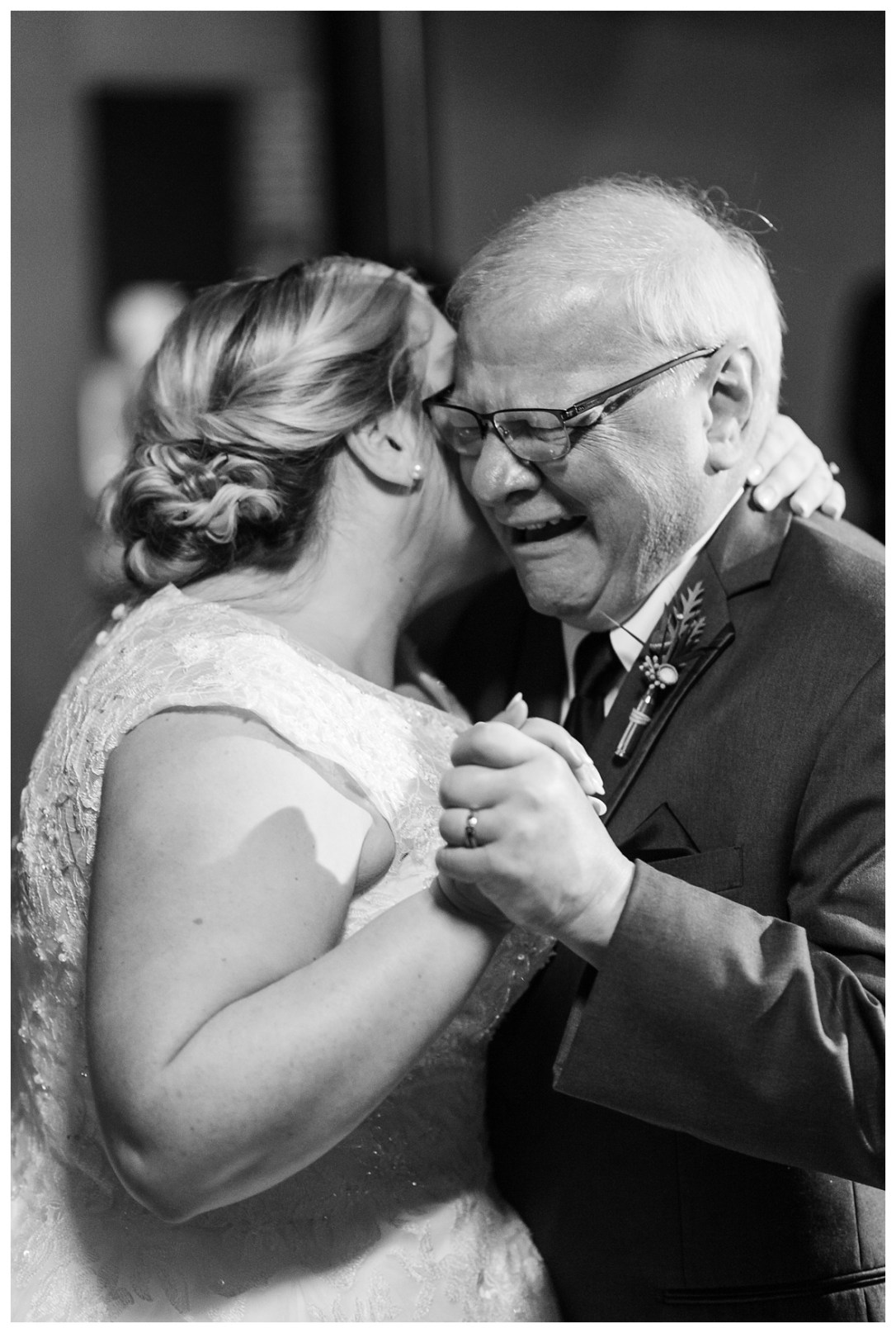 father of the bride cries at reception