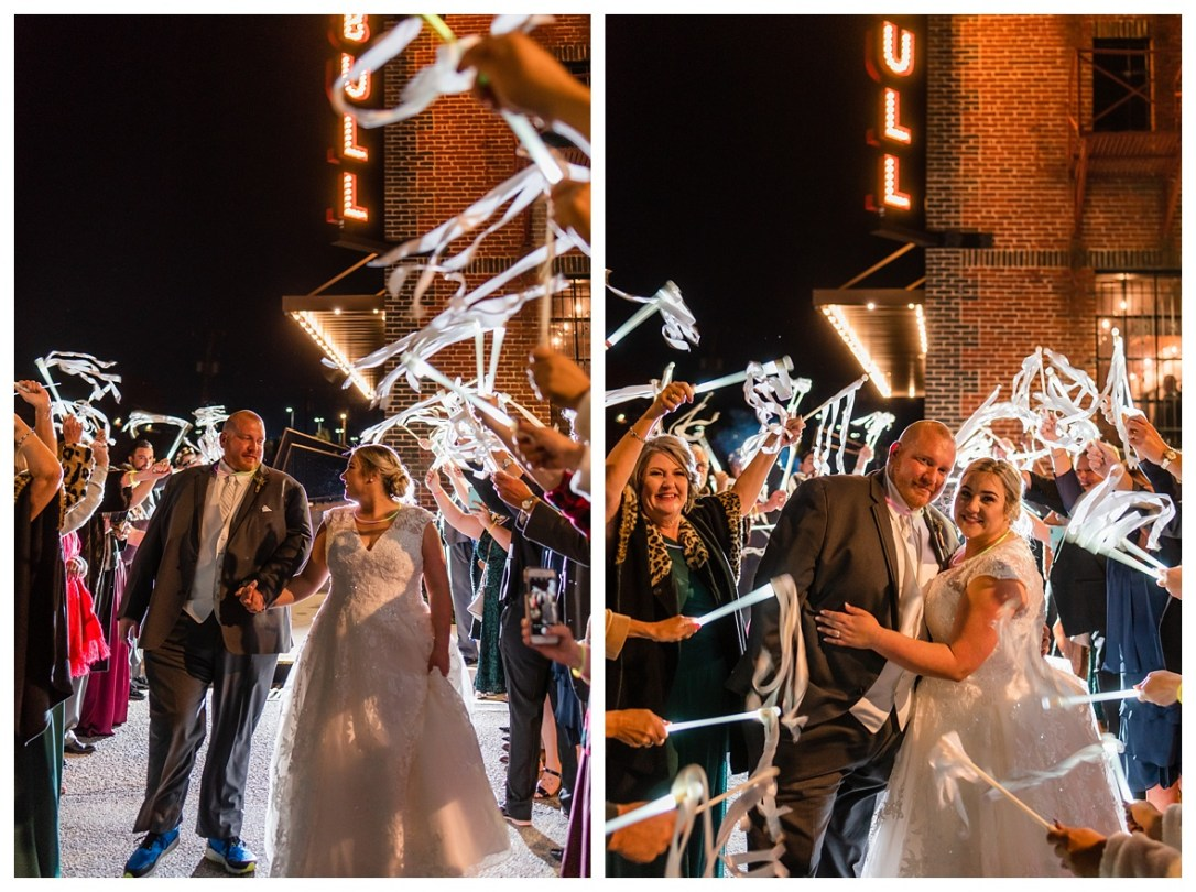 wedding exit with ribbons