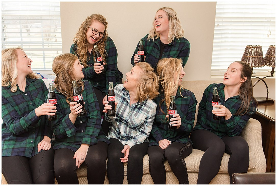 bridesmaids in flannel