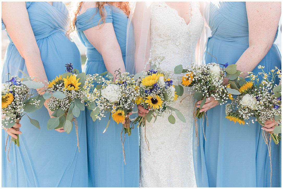 White Farmhouse wedding with sunflowers
