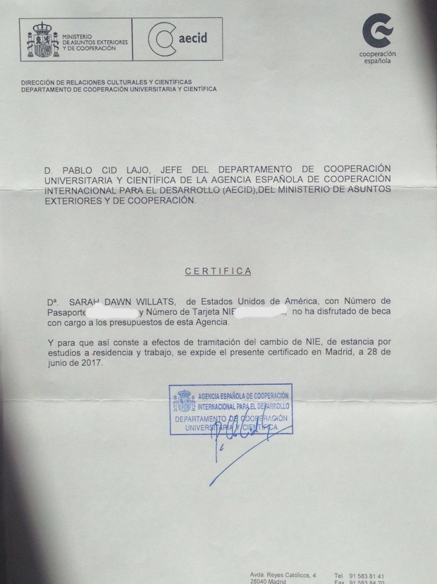 Letter Confirming No Scholarship Received by AECID