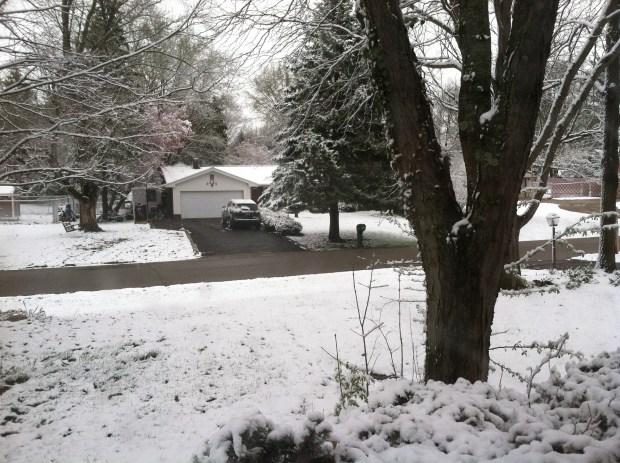 snowstorm in Dayton in April