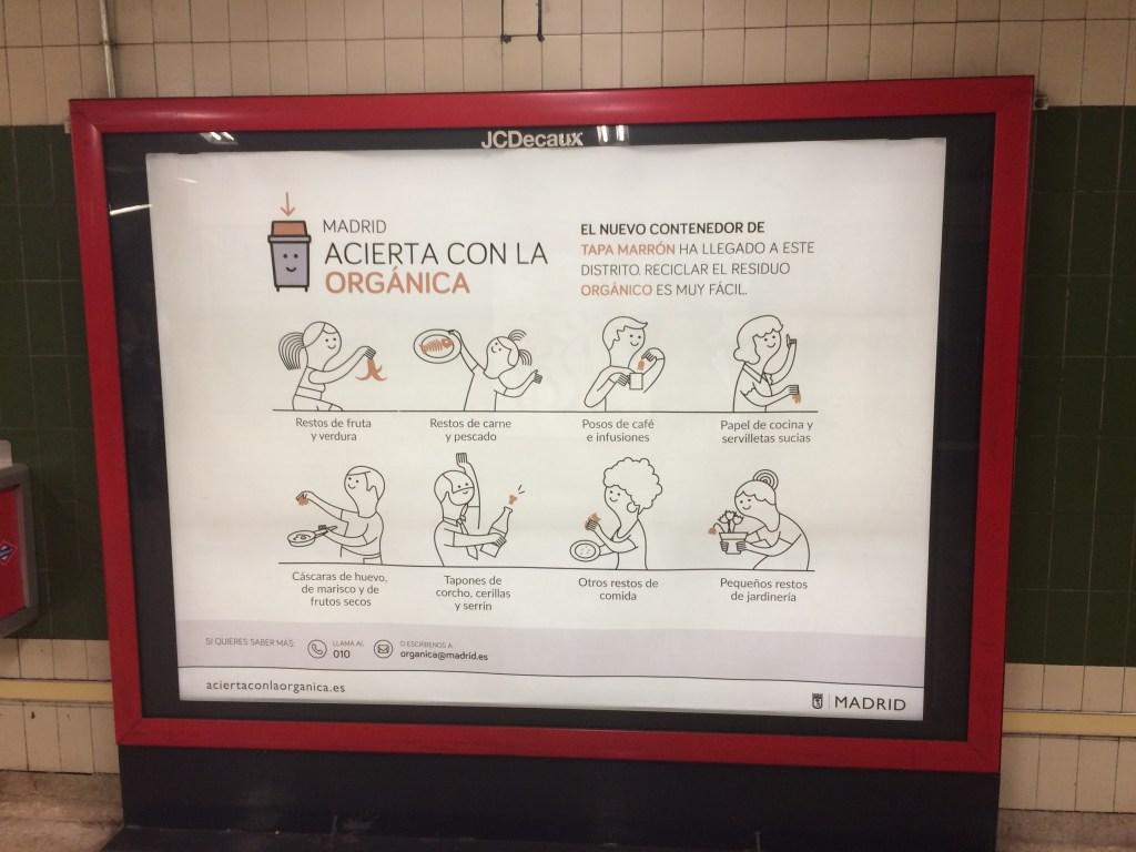 City wide organic bin poster in Madrid metro
