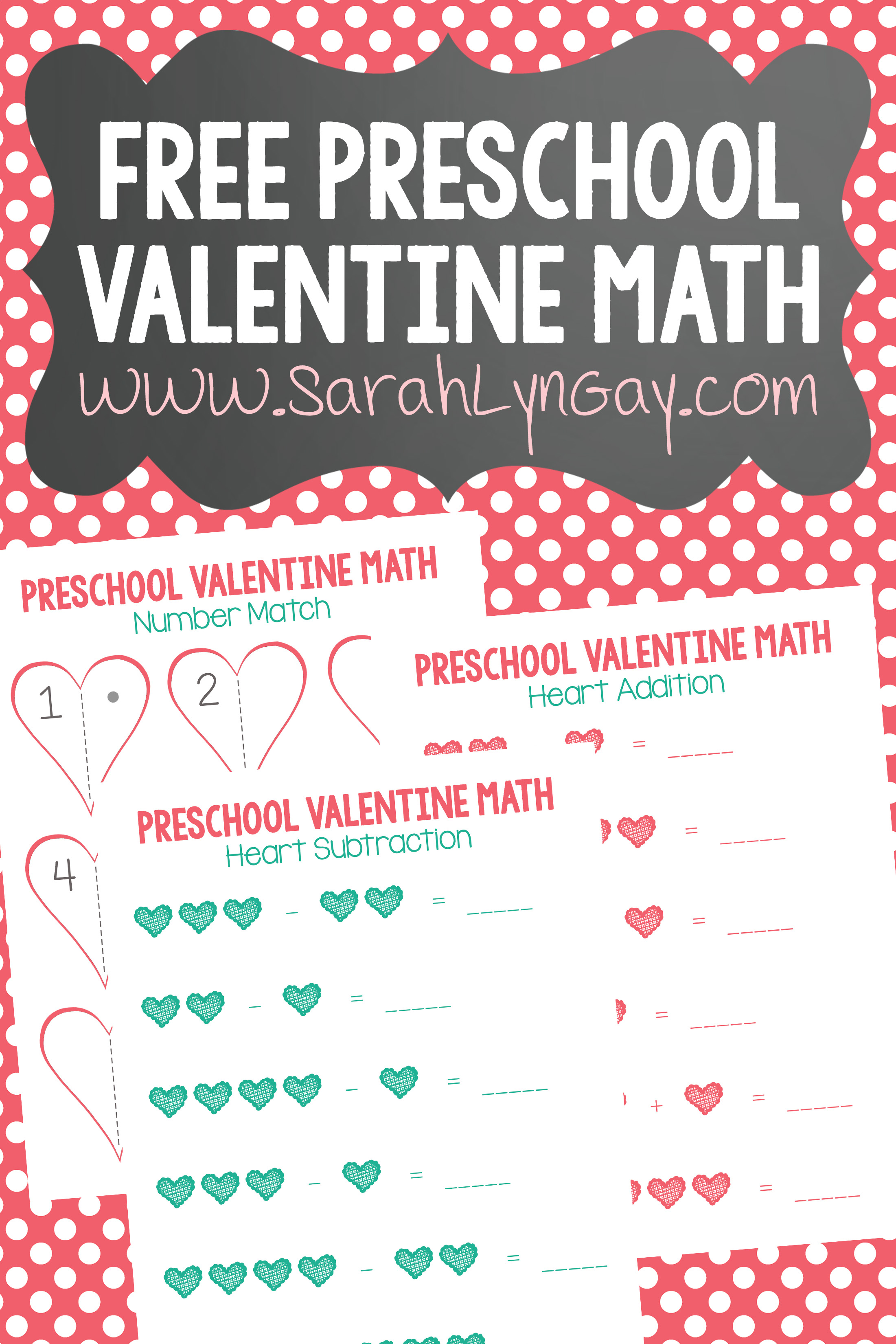graphic about Preschool Valentine Printable Worksheets known as Preschool Valentine Math Totally free Printable Worksheet - Sarah