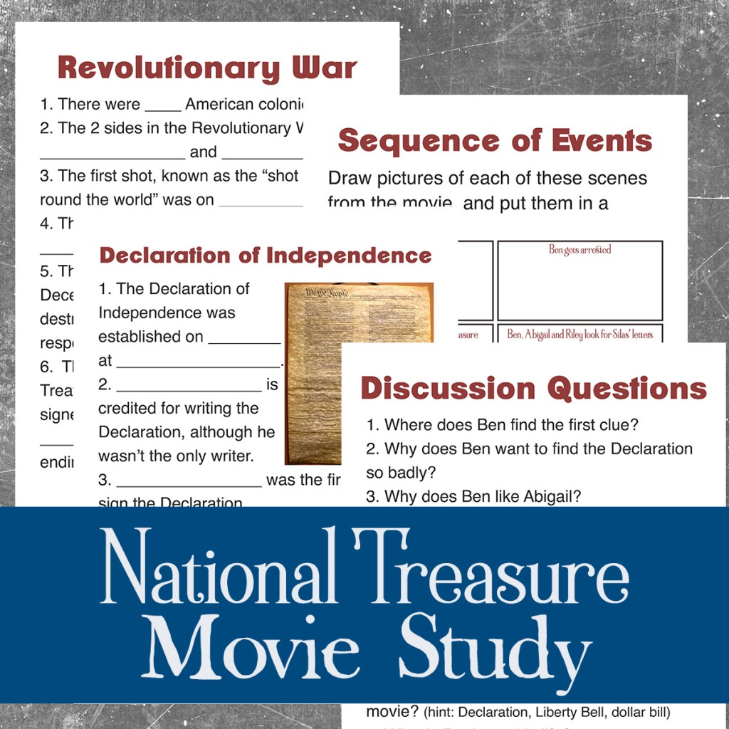 That is why I came up with this simple lesson for watching a Disney movie –  it is my National Treasure Movie Study!
