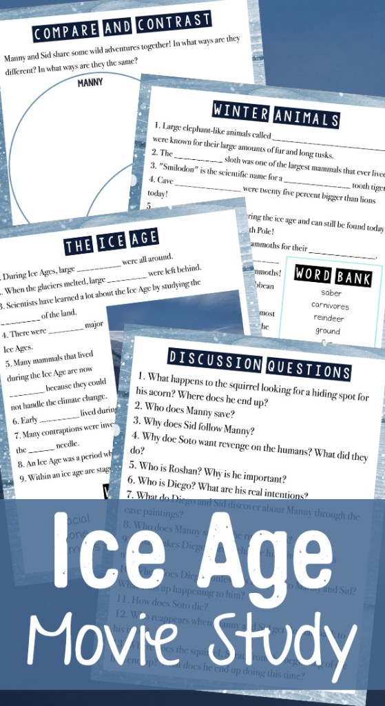 Ice Age Movie Free Printable Lesson Pack