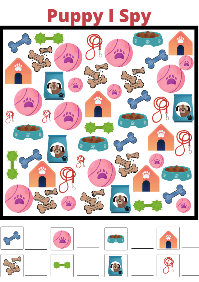 National Puppy Day Fun Free Printable Worksheets I spy game