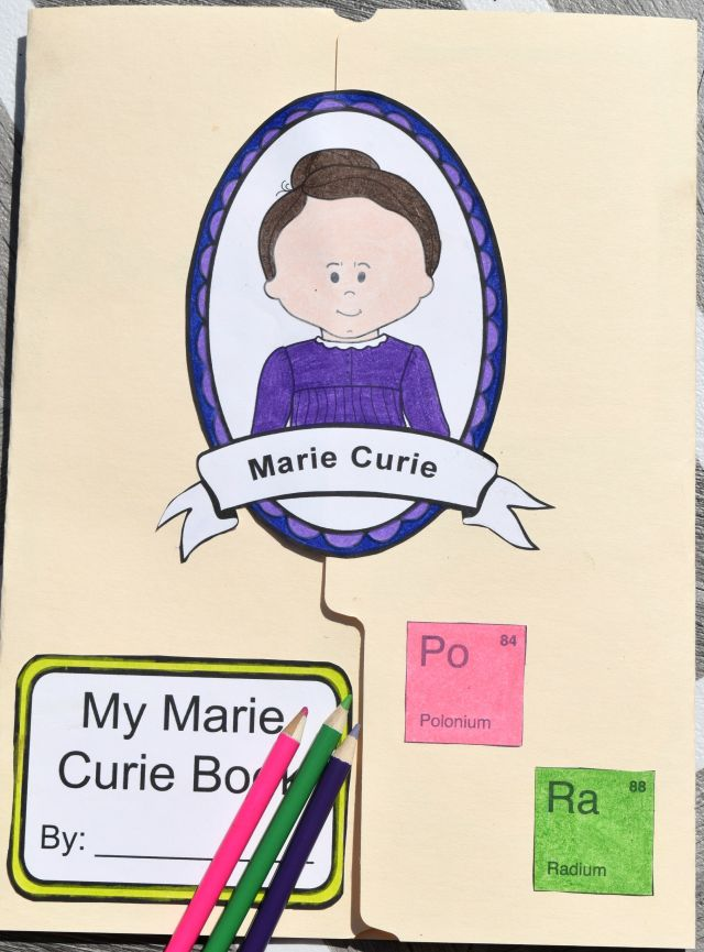 How to Make a Marie Curie Lapbook - free printable front of the lapbook