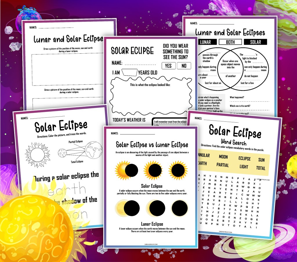 All About A Solar Eclipse Sarah Lyn Gay page that shows all pages in the FREE Printable set