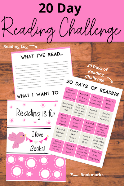 Get our 20 Day Reading Challenge FREE Printable