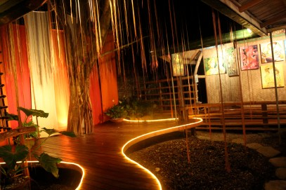 Tree and hanging roots provide a natural stage, KaLui Restaurant, Puerto Princesa, Palawan, Philippines