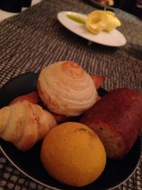 Mini croissant, rosemary loaf, olive oil and sea salt bun. Joel Robuchon. Photo by Rosemary Nickel, Motivating Other Moms.