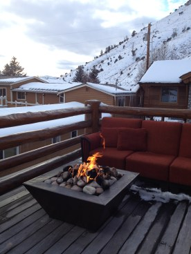 Terrace and fire pit at Rusty Parrot