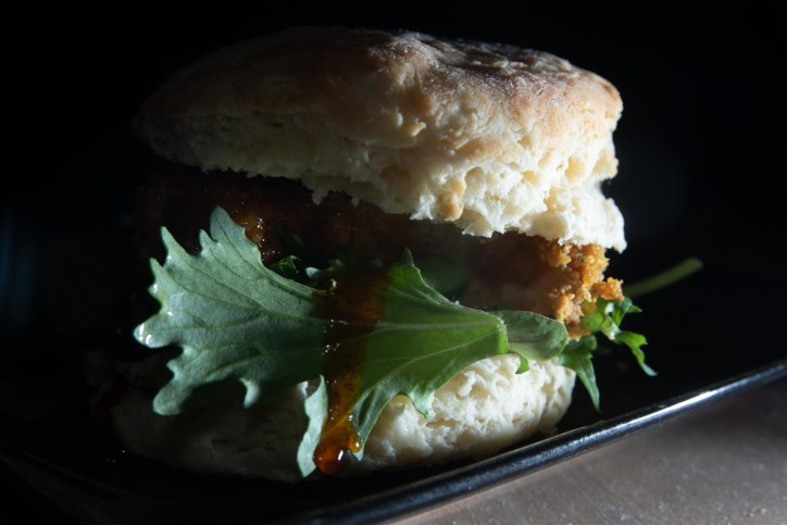 A biscuit chicken sandwich