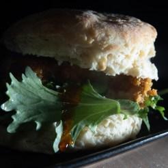 A biscuit chicken sandwich