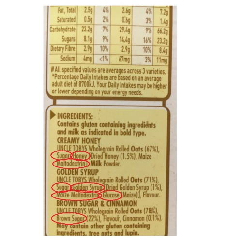 Perth Nutritionist ingredients Uncle tobys oats