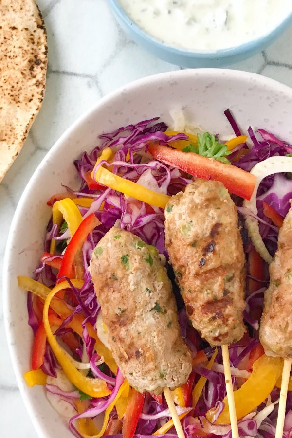 Lamb Koftas with Tzatziki and Purple Slaw