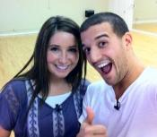 Bristol smiling and Mark clowning at DWTS rehearsal studio