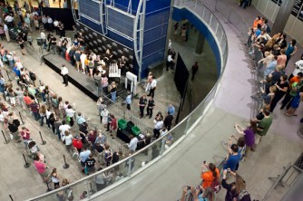 Looking down at Palin book signing at MOA from balcony - June 29 2011