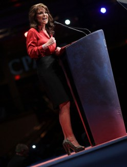 Sarah behind podium at CPAC