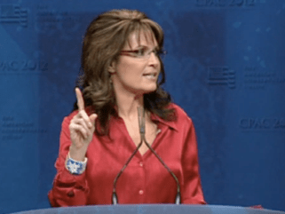Sarah lifts finger during speech at CPAC