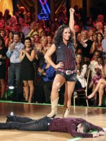 Bristol and Mark at end of cowboy quick step on Week 2 of DWTS All Stars