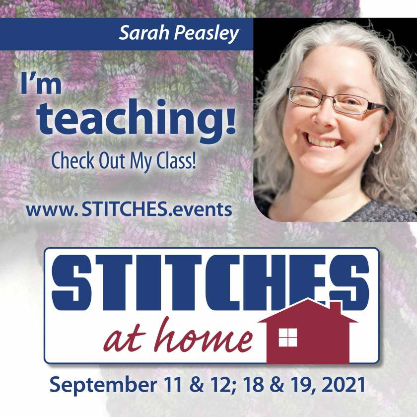 banner announcing that sarah peasley is teaching a class for stitches at home Sept 11 & 12, 18 & 19.