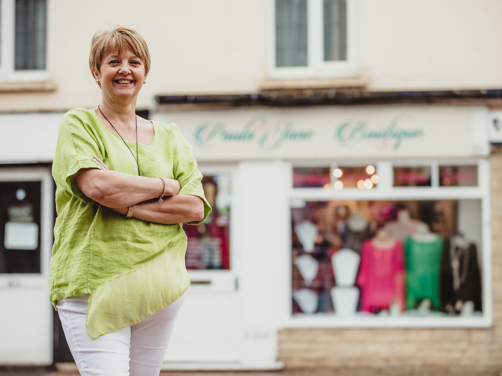 5110dd901 Portrait of Paula Pym outside her shop Paula Jane Boutique in Bicester -  Sarah Plater is