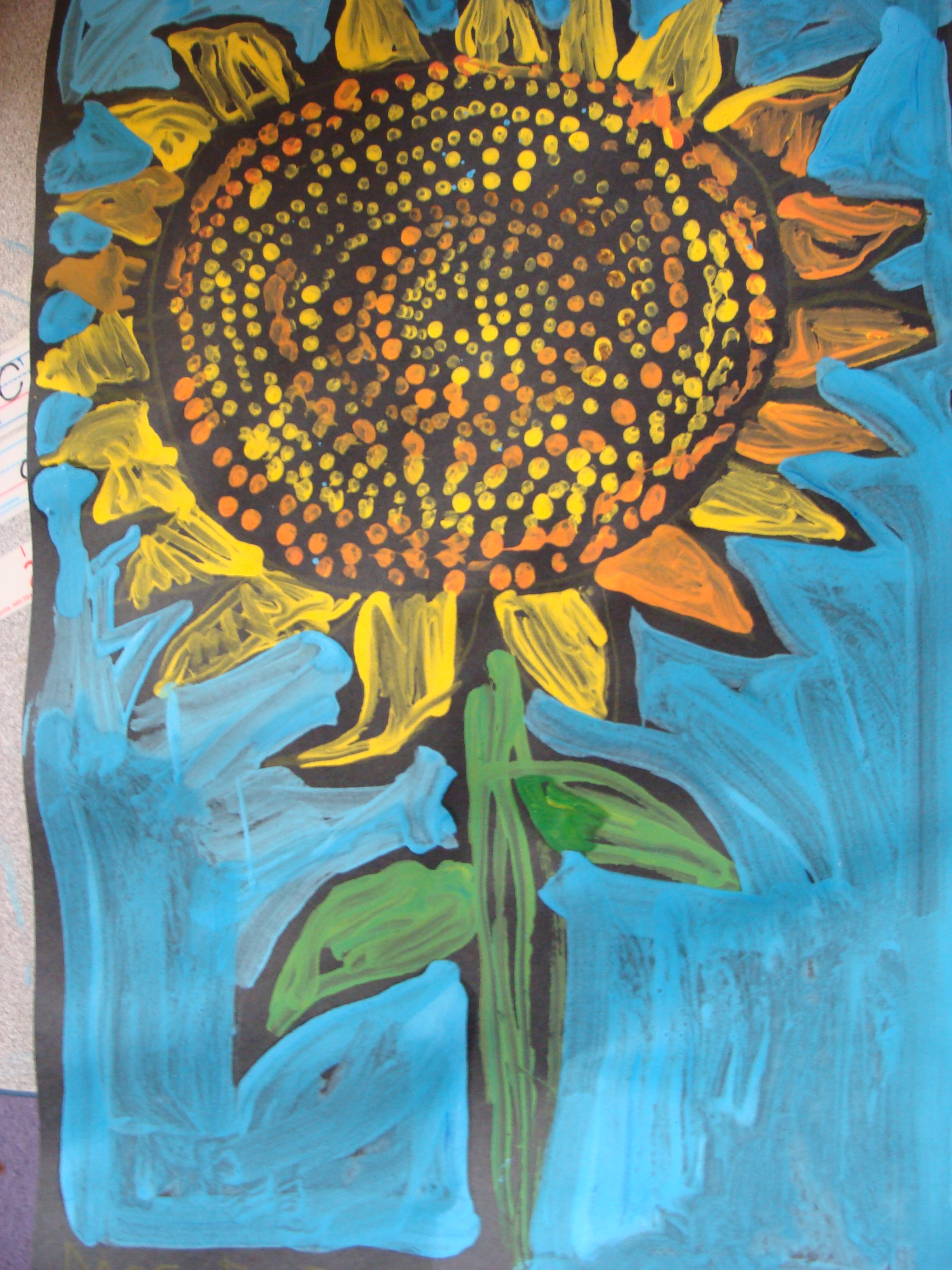 The 1st Grade Sun Flower Painting Art Gallery Dedicated