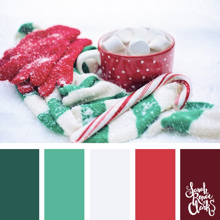 sweet hues christmas color schemes click for more christmas color palettes mood boards and color combinations at httpssarahrenaeclarkcom color