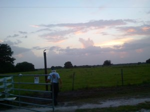 Sunset on Rolling Meadows Ranch and Danny working.