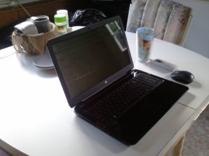 My year old laptop in the kitchen. I was waiting for Danny to drive up.