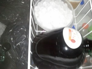 His wine well chilled.