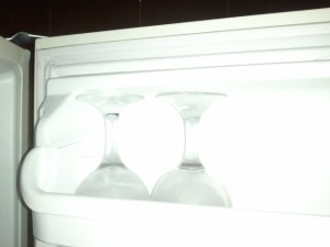 Sorry, Not a good photo. Wine glasses chilled.