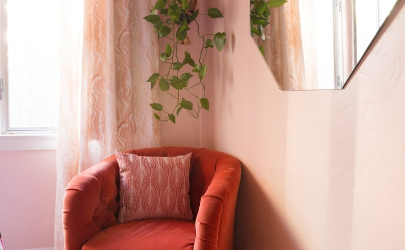 Blush Bedroom Makeover with 70's Inspired Style From Design Sponge (Comments By Sarah)