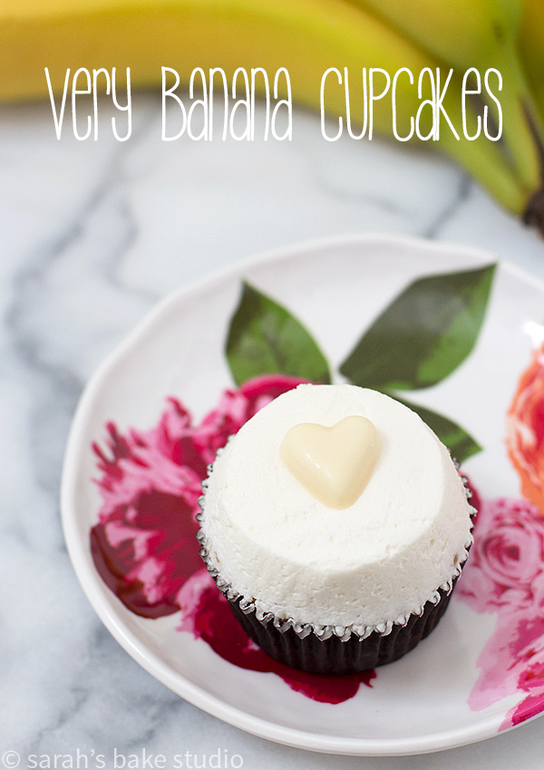 Very Banana Cupcakes - doctored white cake mix and real bananas baked into a delicious, moist and airy cupcake, and topped with a dollop of vanilla buttercream; your favorite VERY banana cupcakes!