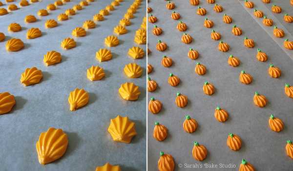 Royal Icing Pumpkins - a video tutorial on how to make inexpensive adorable pumpkins perfect for dressing up your fall cupcakes and sweet treats!