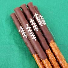 Chocolate Football Pretzel Rods from Sarah's Bake Studio