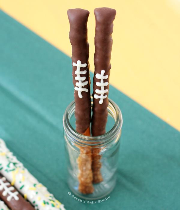Chocolate Football Pretzel Rods