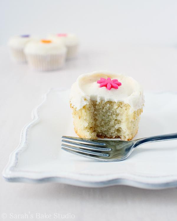 Vanilla Bean White Velvet Cupcakes with Vanilla Bean Buttercream
